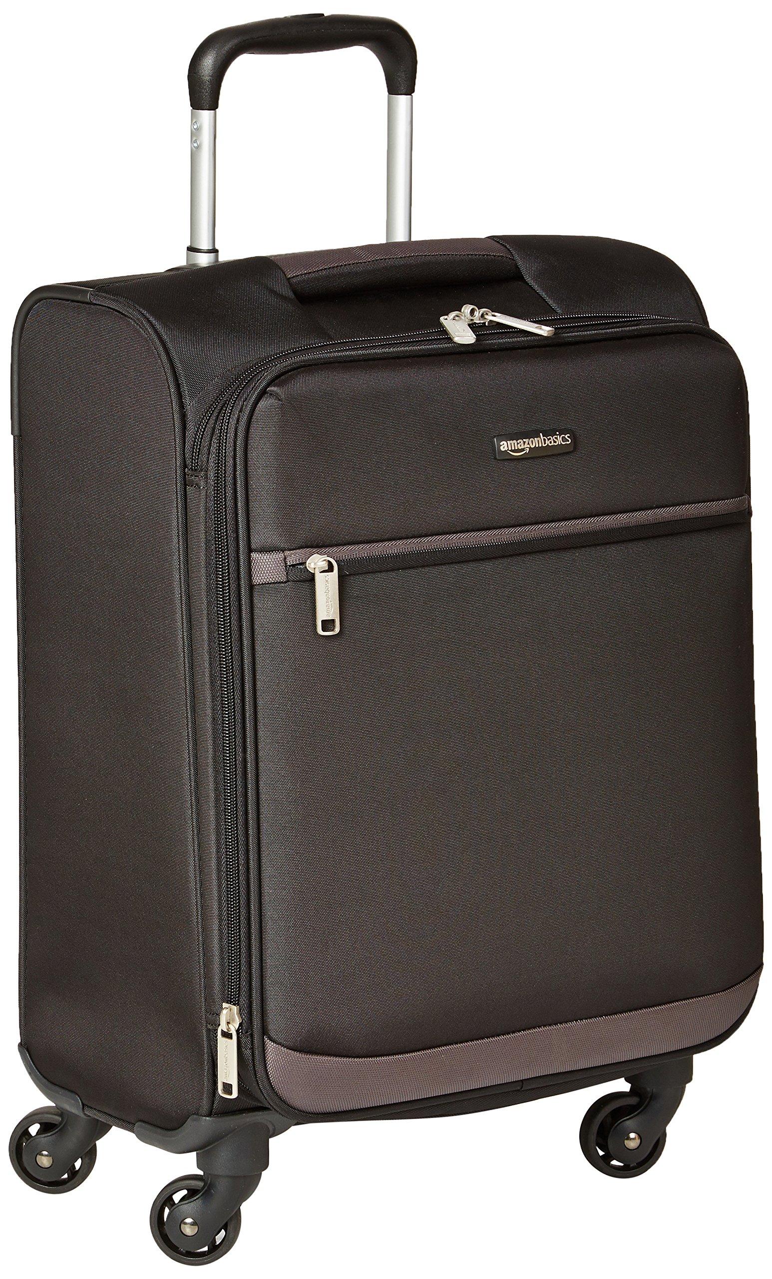 AmazonBasics Softside Spinner Luggage - 21-inch, Carry-on/Cabin Size, Black by AmazonBasics