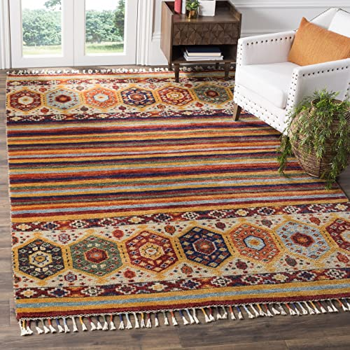 Safavieh Nomad Collection NMD789A Hand-Knotted Wool Viscose Area Rug, 9 X 12 , Multi