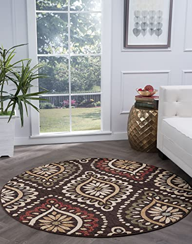 Modesto Transitional Medallion Brown Round Area Rug