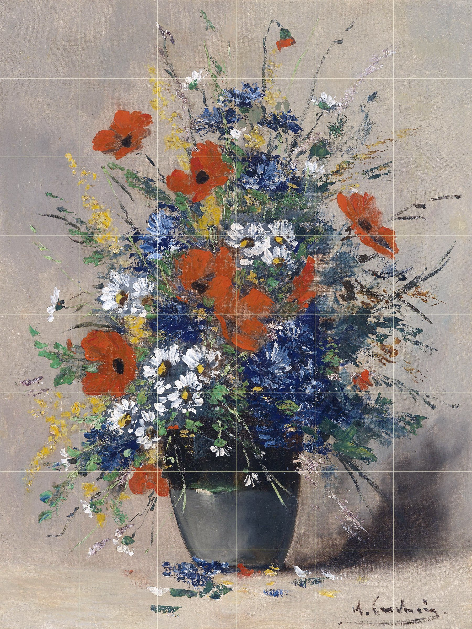 Still life of summer flowers in a vase of daisies poppies cornflowers by Eugene Henri Cauchois Tile Mural Kitchen Bathroom Wall Backsplash Behind Stove Range Sink Splashback 6x8 4'' Marble, Matte