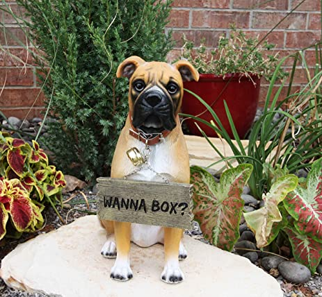 Large Adorable Fawn Boxer Garden Greeter Statue With Jingle Collar  13.25u0026quot; ...