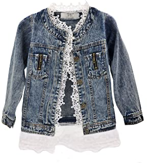 8df4130cc Amazon.com  Kids Girls Jean Jacket Toddler Spring Denim Jacket Lace ...