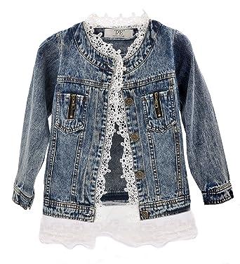 ZAKASA Niñas Niñas Niñas Denim Jean Jacket Encaje Cowboy Chaqueta Chaqueta Abrigo Vestido: Amazon.es: Ropa y accesorios