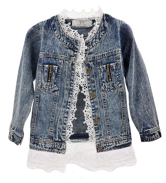 7f513ae6ce3c ZAKASA Girls Kids Baby Girls Denim Jean Jacket Lace Cowboy Jacket ...