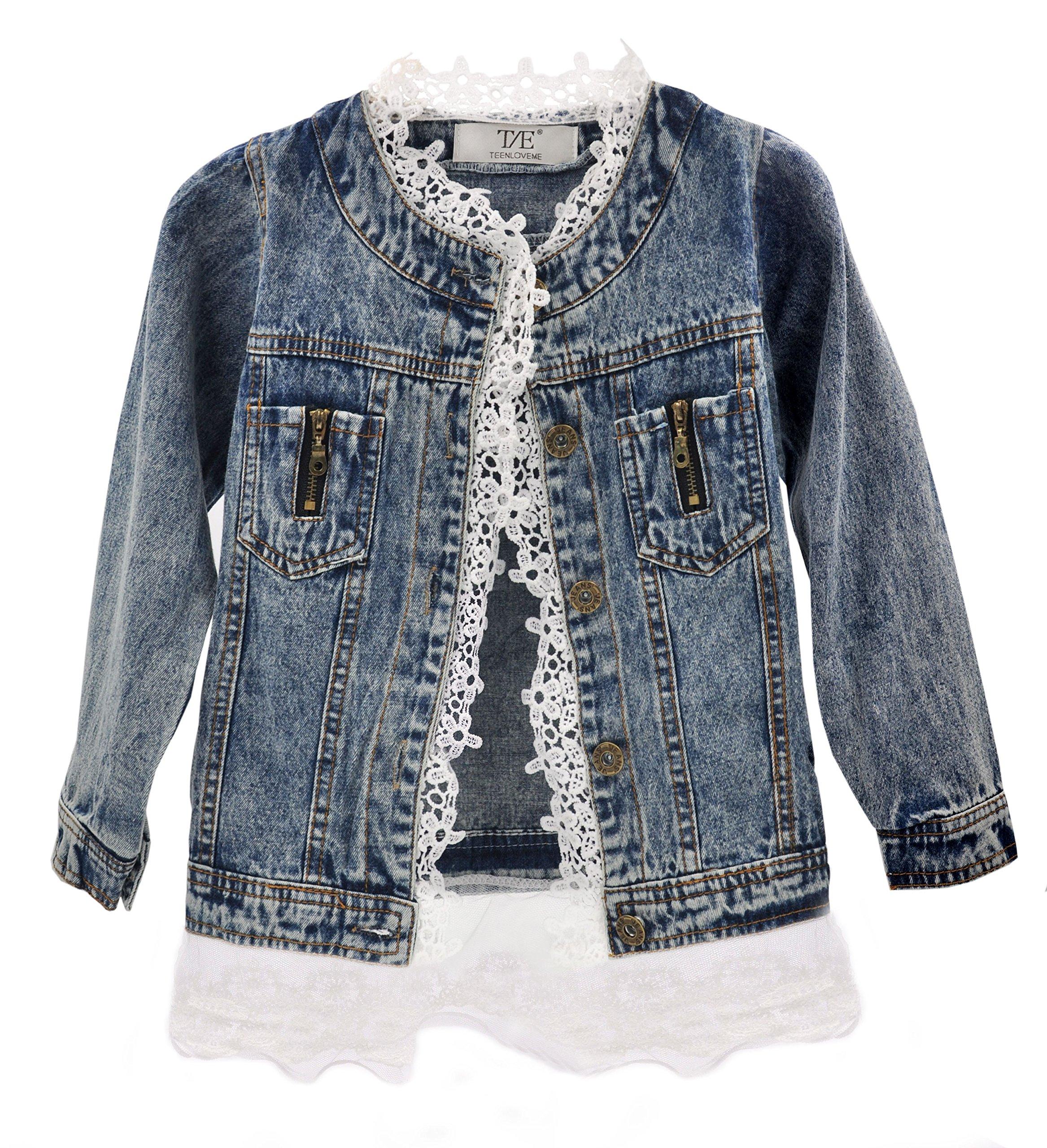 Artfasion Baby Girls/Girls Denim Jean Jacket Lace Cowboy Jacket Denim Dress Coat (5-6 years/120cm, Denim)