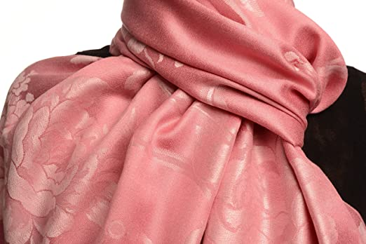 Large Tea Pink Roses On Salmon Pink Pashmina With Tassels SF002655