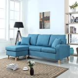 Mid Century Modern Linen Fabric Small Space Sectional Sofa with Reversible Chaise (Sky Blue)