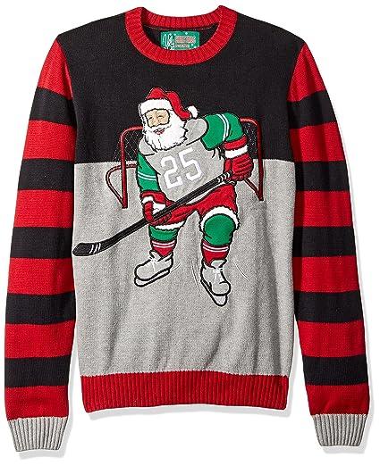 Ugly Christmas Sweater Company Mens Hockey Santa Sweater At Amazon