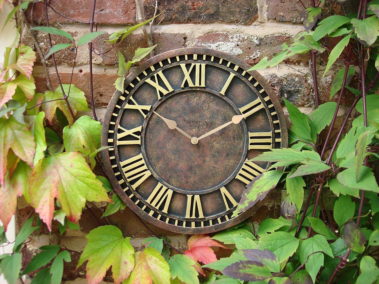 Outdoor indoor Garden Wall Clock Hand Painted church clock 30cm rust Home and Garden Products Ltd