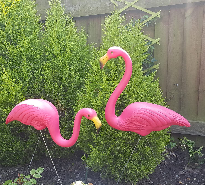 Pair Of Pink Lawn Pond Flamingo Plastic Garden Party Ornaments Decor ...