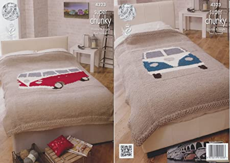 King Cole Home Camper Van Bed Throws Knitting Pattern 4323 Super