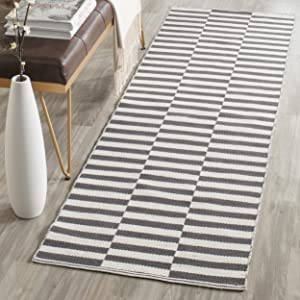 "Safavieh Montauk Collection MTK715A Handmade Flatweave Ivory and Grey Cotton Area Rug (2'3"" x 5')"