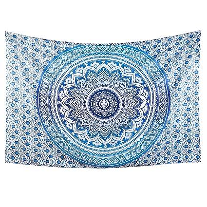 HomeFairy Blue Mandala Tapestry Wall Hanging