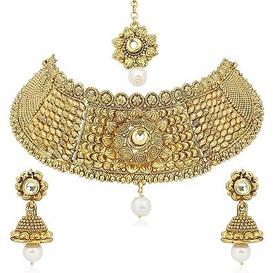 Meenaz Jewellery Gold Plated Kundan Pearl Necklace Set Mang Tikka Ear rings for girls Jewellery Set  sc 1 st  Amazon.in & Buy Meenaz Jewellery Gold Plated Kundan Pearl Necklace Set Mang ...