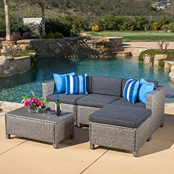 Beautiful Great Deal Furniture Venice Outdoor 5 Piece Grey Wicker Sectional Sofa Set  With Black Cushions