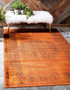 Unique Loom Imperial Collection Modern Traditional Vintage Distressed Terracotta Area Rug (7' 0 x 10' 0)
