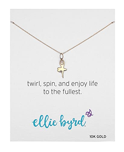 Amazon ellie byrd 10k yellow gold ballerina pendant necklace ellie byrd 10k yellow gold ballerina pendant necklace 16quot aloadofball Images