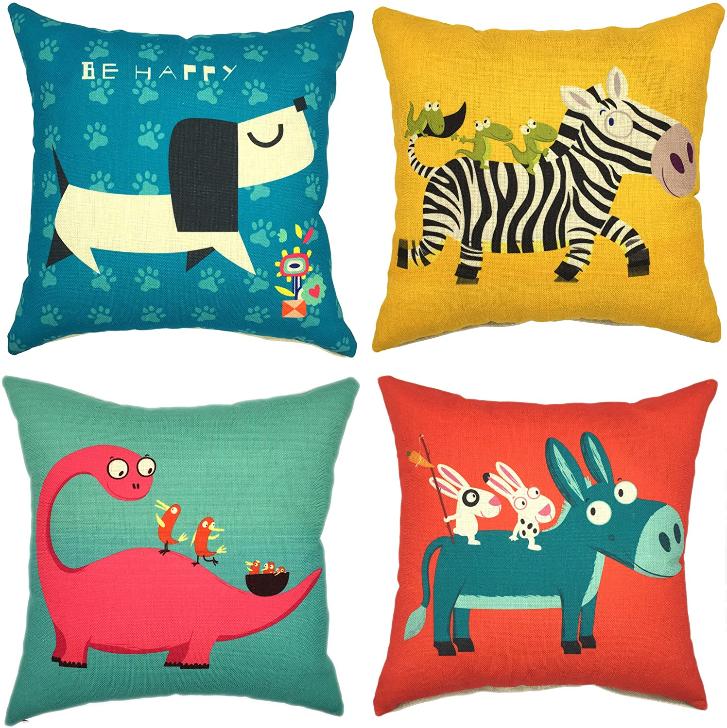 YOUR SMILE Children Series Cute Cartoon Animal Cotton Linen Decorative Throw Pillow Case Cushion Cover Pillowcase for Sofa 18 x 18 Inch, Set of 4