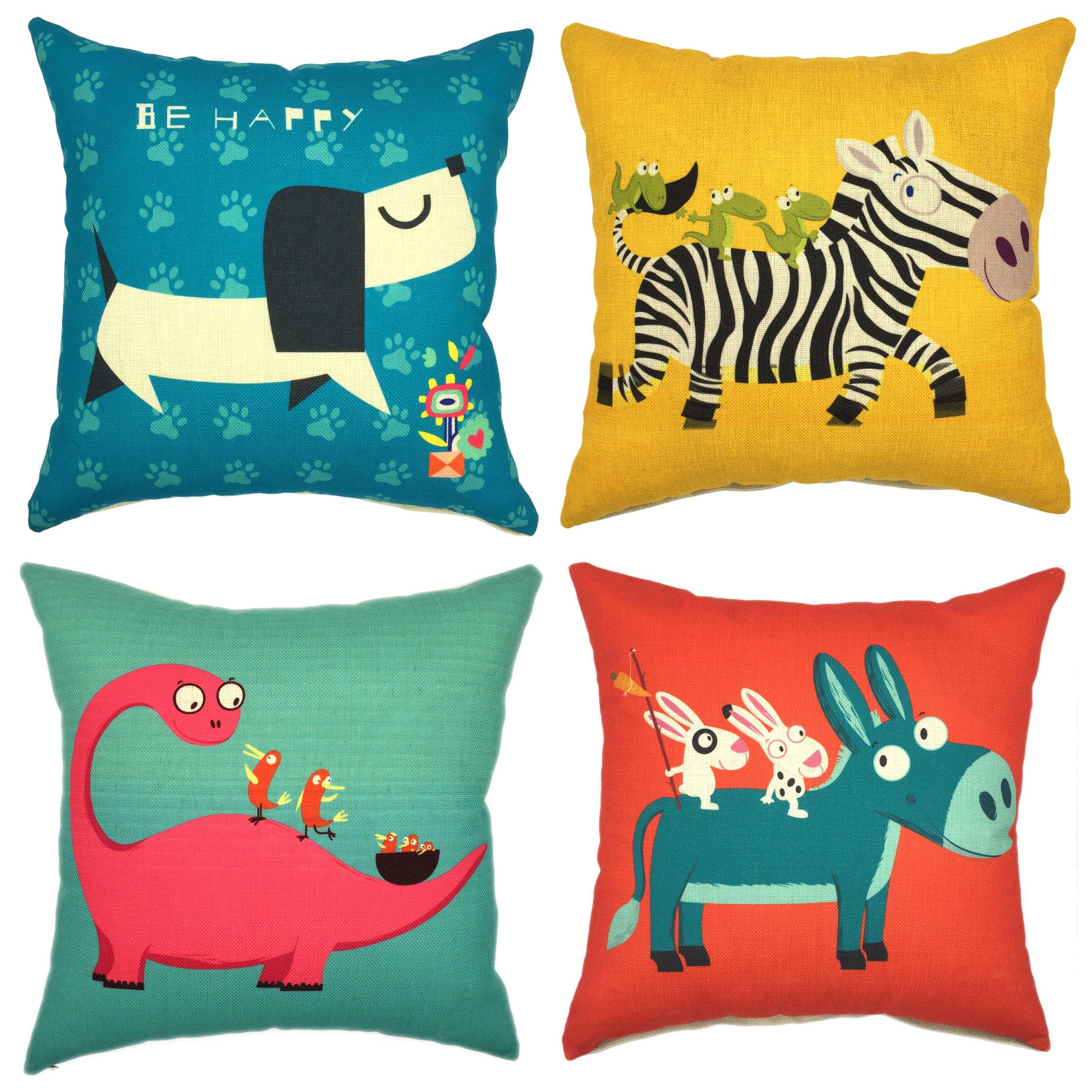 YOUR SMILE Cute Cartoon Animal Cotton Linen Decorative Throw Pillow Case Cushion Cover Pillowcase Sofa 18 x 18 inch, Set of 4