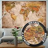 Weltkarte Wanddekoration Vintage - Wandbild Retro Motiv XXL Poster worldmap by GREAT ART (140 x 100 cm)