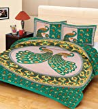 RajasthaniKart 100% Cotton Double Bedsheet and 2 Pillow Covers