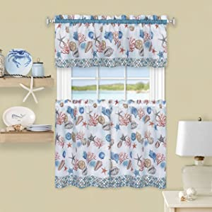 "Achim Home Furnishings Coastal Tier and Valance Window Curtain Set, 58"" x 24"", Blue"