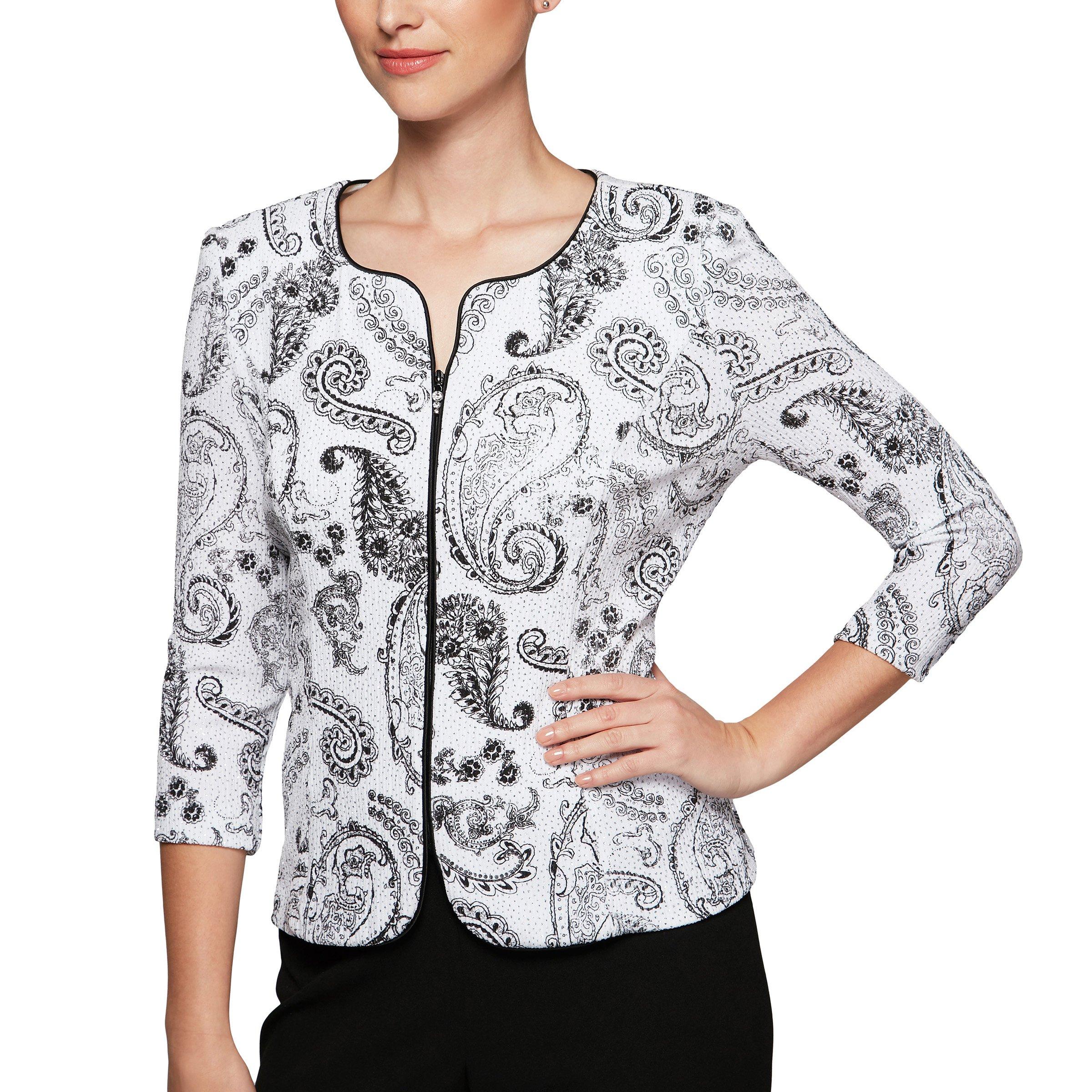 Alex Evenings Women's Formal Zip Jacket with Detail, White/Black, XL