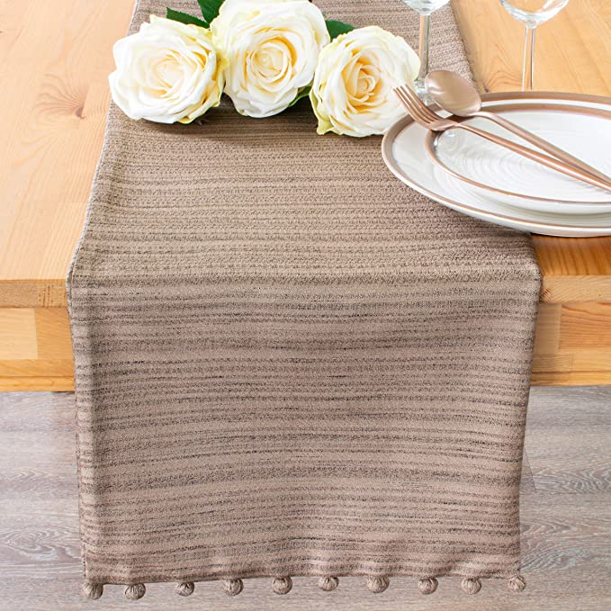 Wedding Party D/écor The White Petals Brown Coffee Table Runners 13x36 inch, Pack of 1 Dining Room Fabric Lined Properly Finished Holiday for Home No Fray Edges Kitchen