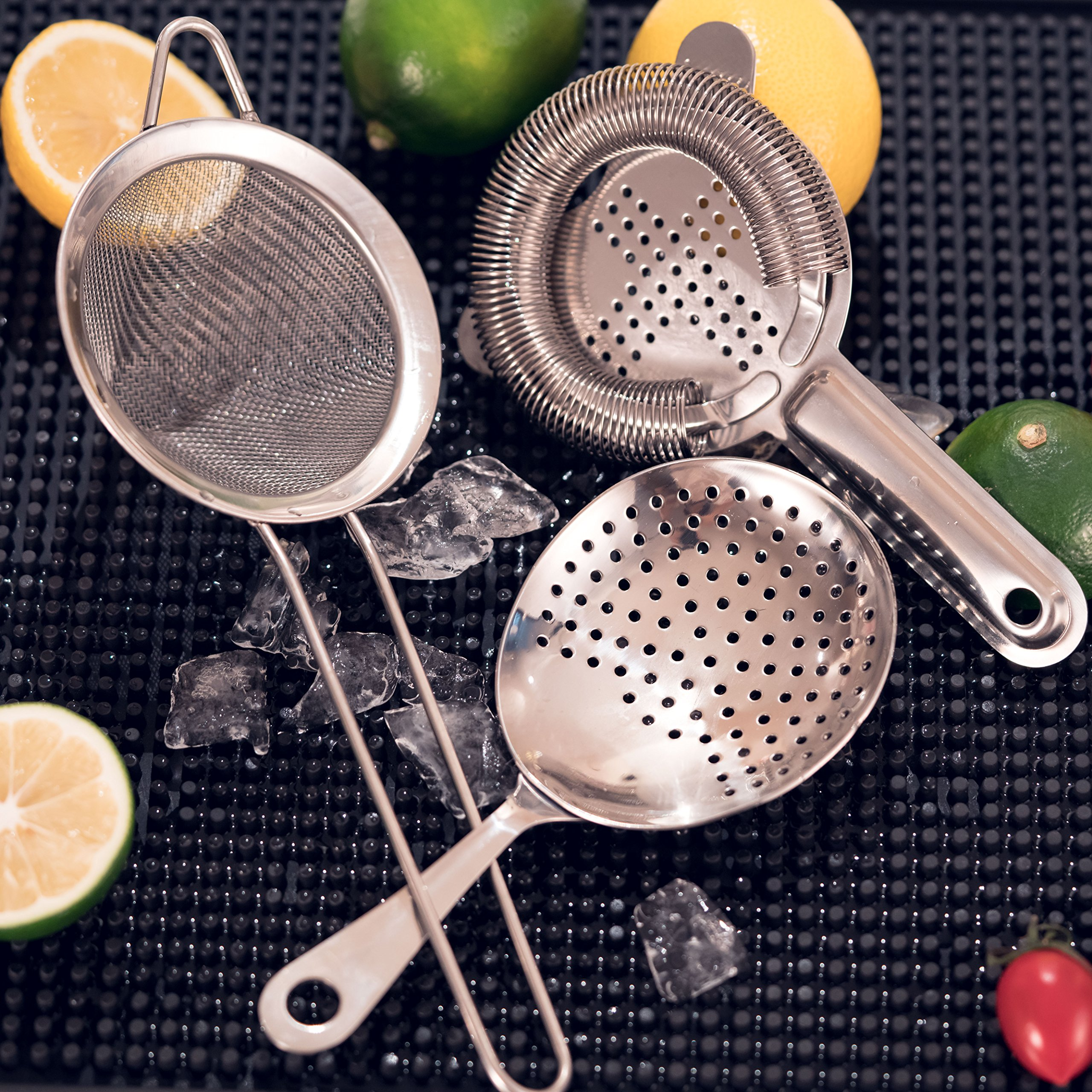 Cocktail Strainer Set for Professional Bartenders and Mixologists – Stainless Steel Hawthorne Strainer, Julep Strainer and Fine Mesh Conical Strainer by ALOONO (Image #7)