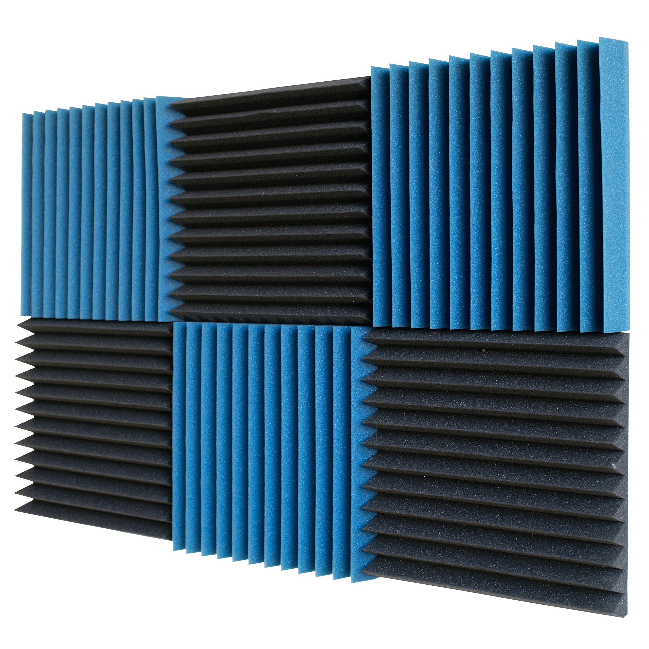 6 Pack- Ice Blue/Charcoal Acoustic Panels Studio Foam Wedges 2'' X 12'' X 12'' by Foamily
