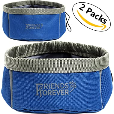 Collapsible Dog Bowl - 2 Pack Travel Dog Bowl, Water Food Bowls Dogs - Portable Pet Hiking Accessories