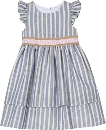 Amazon.com: Laura Ashley London - Vestido a rayas para niñas ...