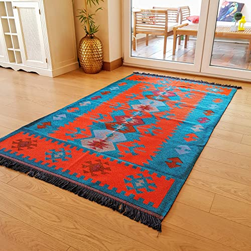 Secret Sea Collection Modern Bohemian Style Area Rug, 5 x 8 ft, 60 x 100 , Cotton, Washable, Reversible Turquoise-Orange