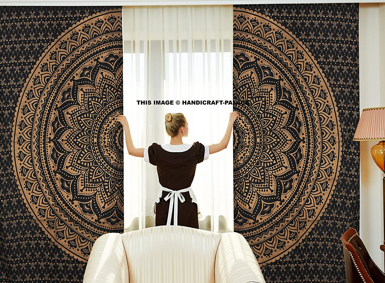 Curtains Ethnic Black Gold Ombre Mandala Decor by Handicraftspalace, Mandala Tapestry Meditation Design Psychedelic Round, Window Treatments, Living Kids Girls Room 2 Panels Set, 82 X 82 Inch Handicraft-Palace MC-7
