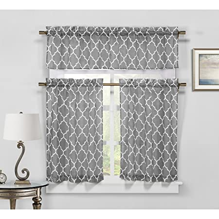 3 Piece Sheer Window Treatments Dark Grey White Geometric Trellis Design, 1 Valance and 2 Tiers