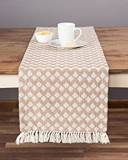 Merveilleux Sticky Toffee Cotton Woven Table Runner With Fringe, Scalloped Diamond, Tan,  14 In