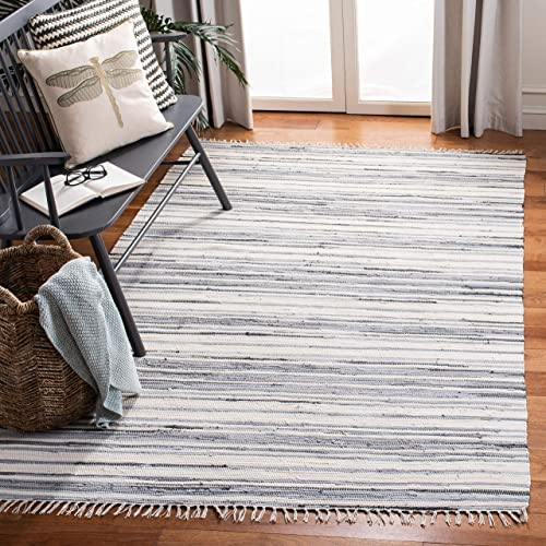 Safavieh Rag Rug Collection RAR126A Hand Woven Ivory and Grey Cotton Area Rug 8 x 10