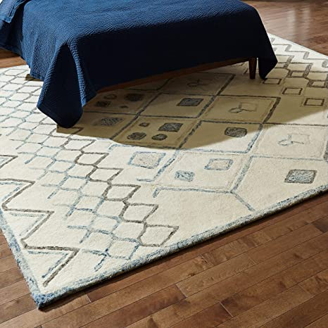 Amazon Com Rivet Geometric Boho Wool Rug 8 X 10 Cream With Blue