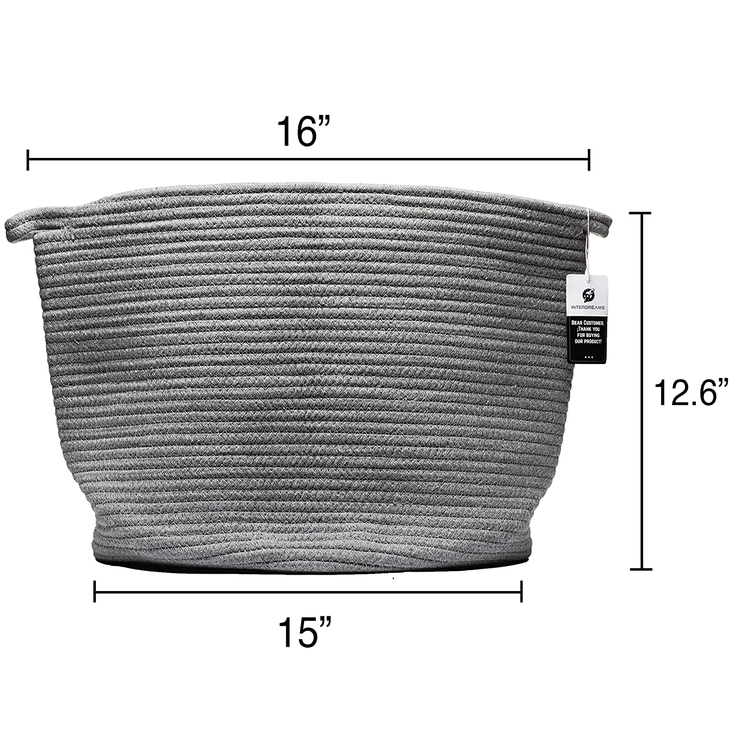 dc608701c560 Round Baby Diaper Laundry Basket with Handles Grey Wicker Basket for Fabric Extra  Large Cotton Rope ...