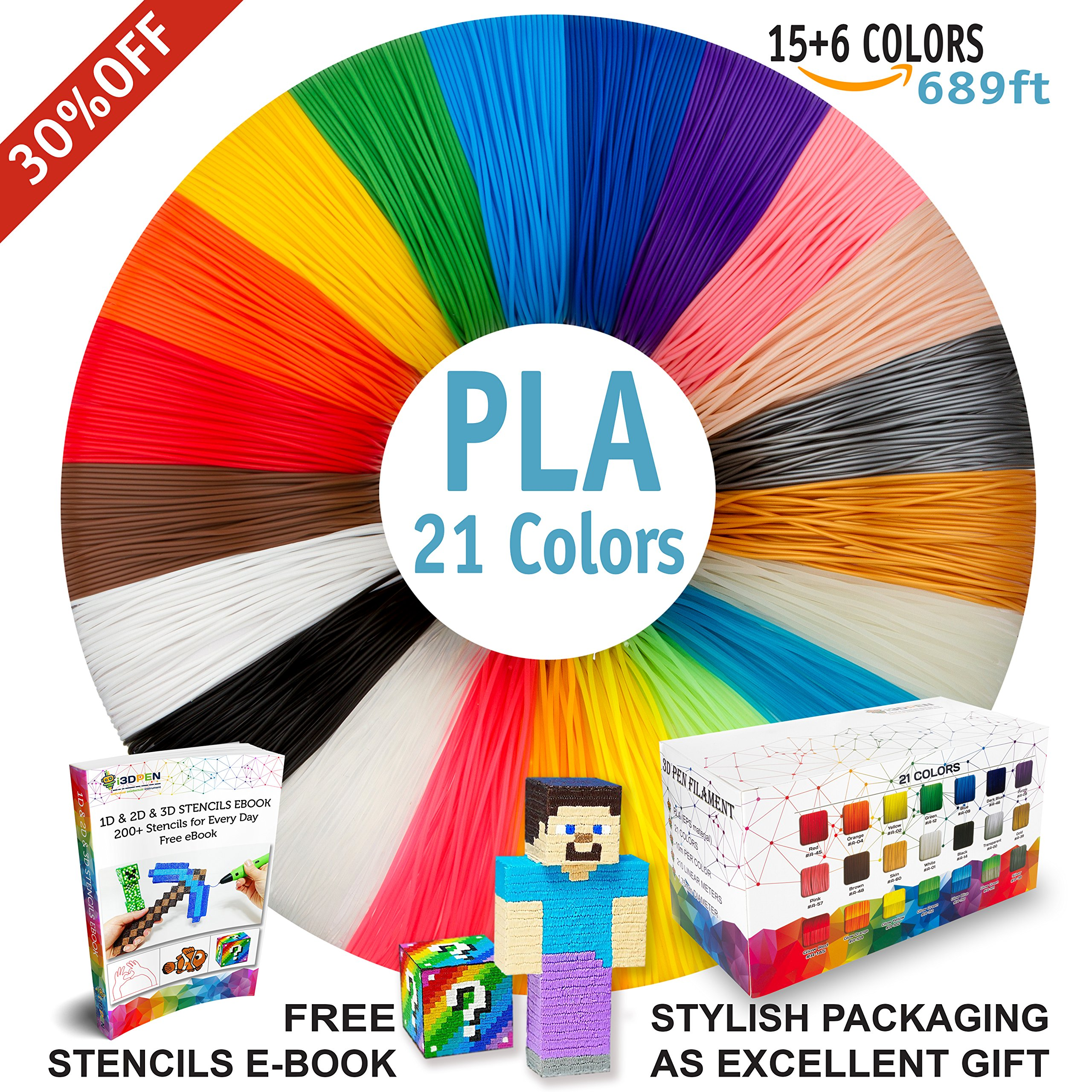 3D Pen Filament Refills - Premium Set of 21 Colors Bonus 200 Stencils EBook including 6 Glow in the Dark - Best 1.75mm PLA Filament Pack for 3D Pen