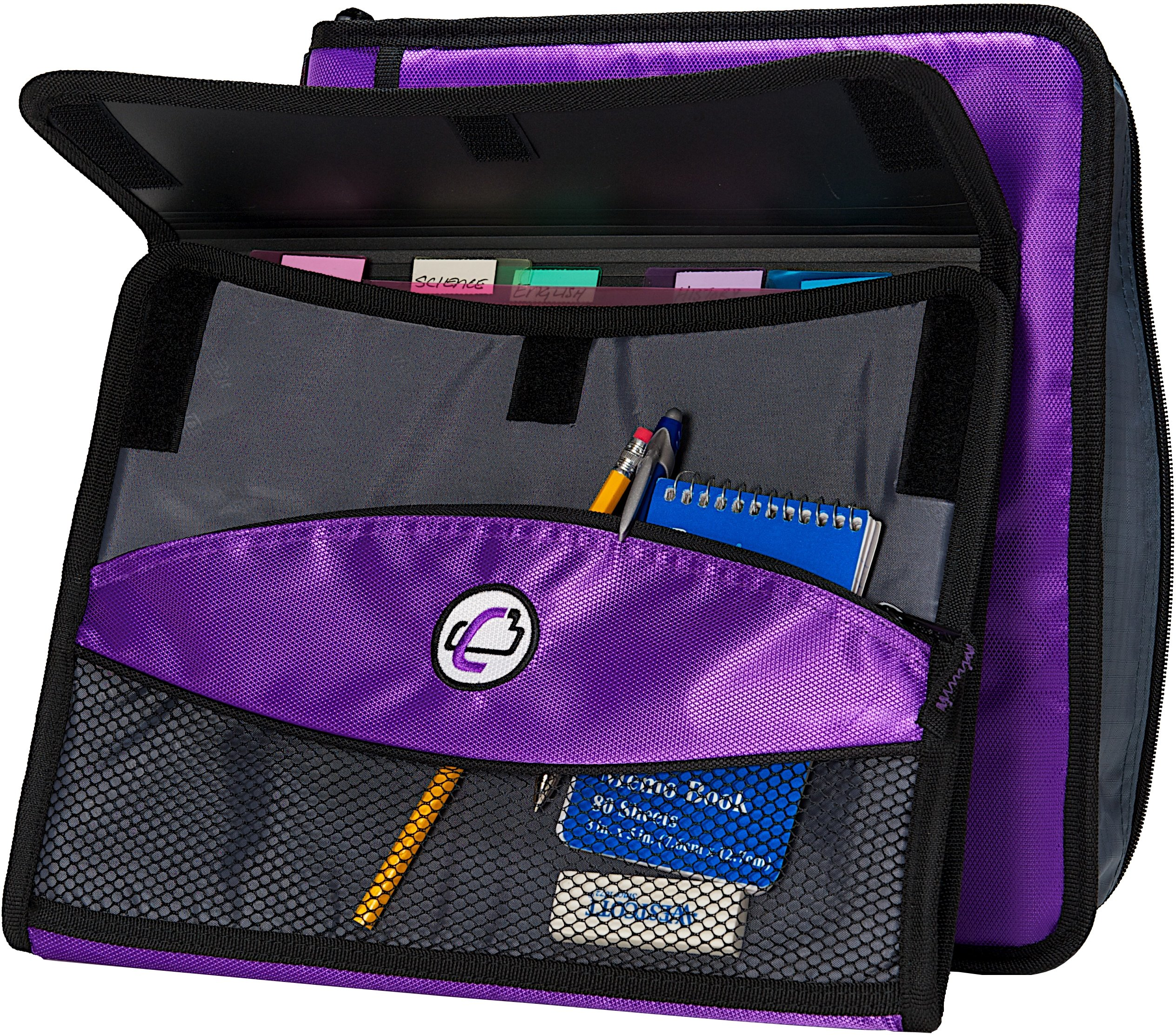 Case-it Sidekick 2-Inch O-Ring Zipper Binder with Removable Tab File, Purple, D-901-PUR by Case-It (Image #4)