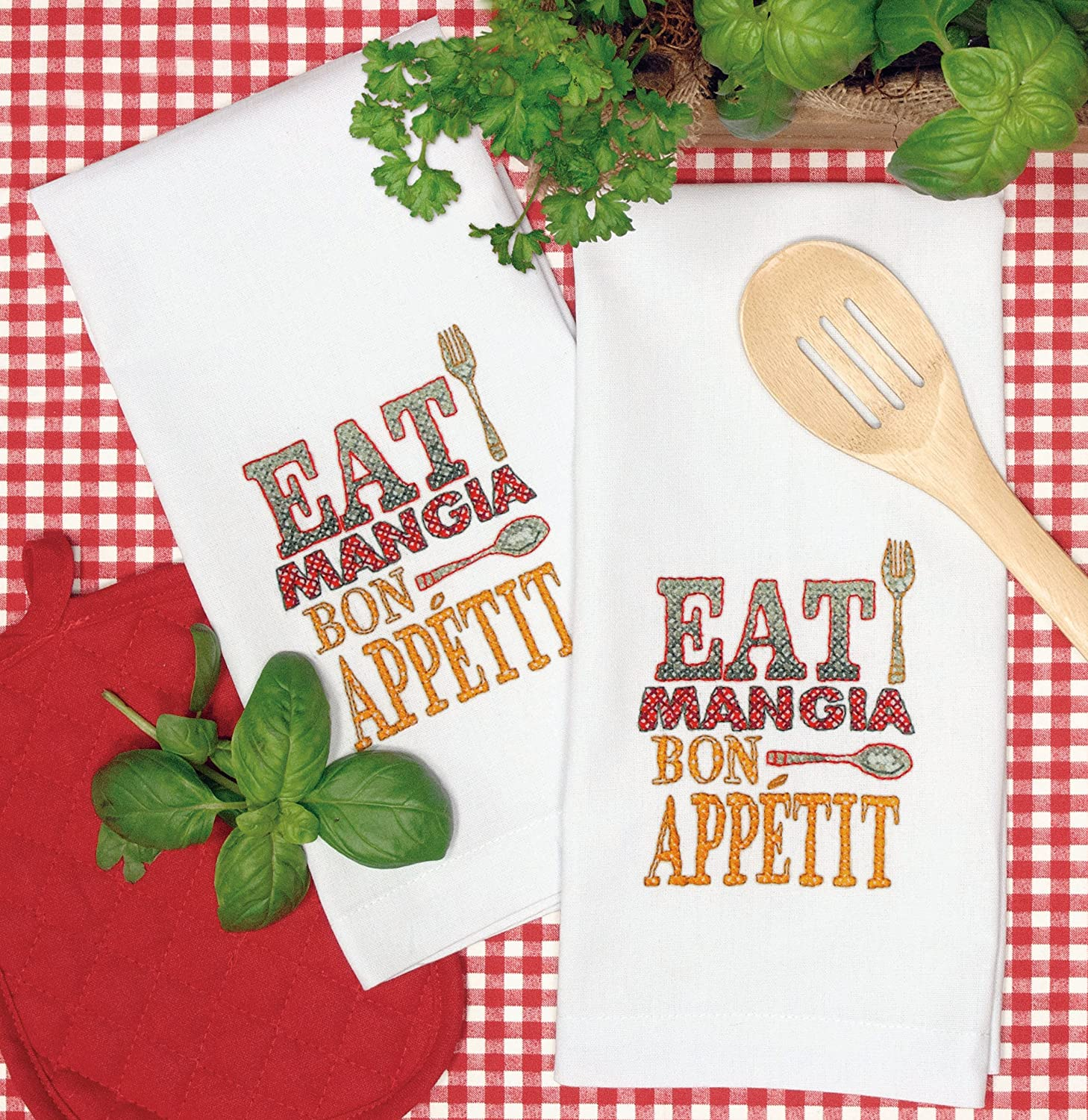 Amazon.com: Dimensions Crafts Stamped Cross Stitch Hand Towels, Good Eats