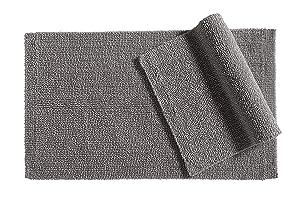 "AmazonBasics Everyday Cotton Bath Rug Set - 17"" x 24"" & 20"" x 34"", Fog Grey"