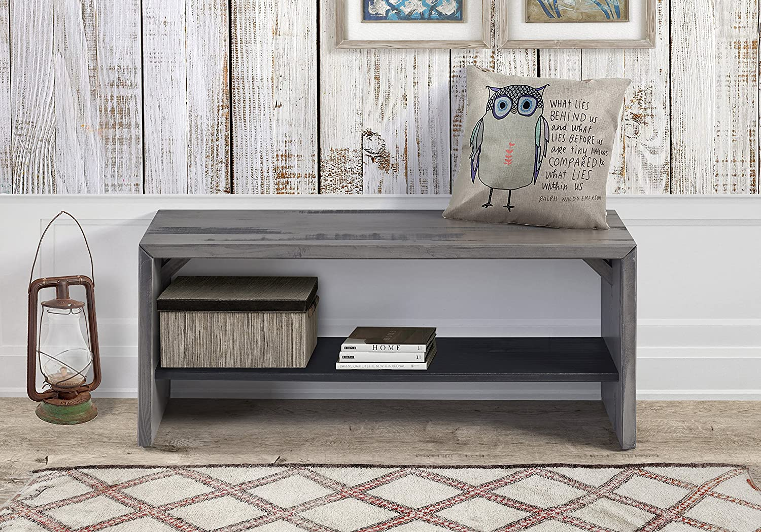 "Bench Gray Entryway Home Decor Furniture 42"" Reclaimed"