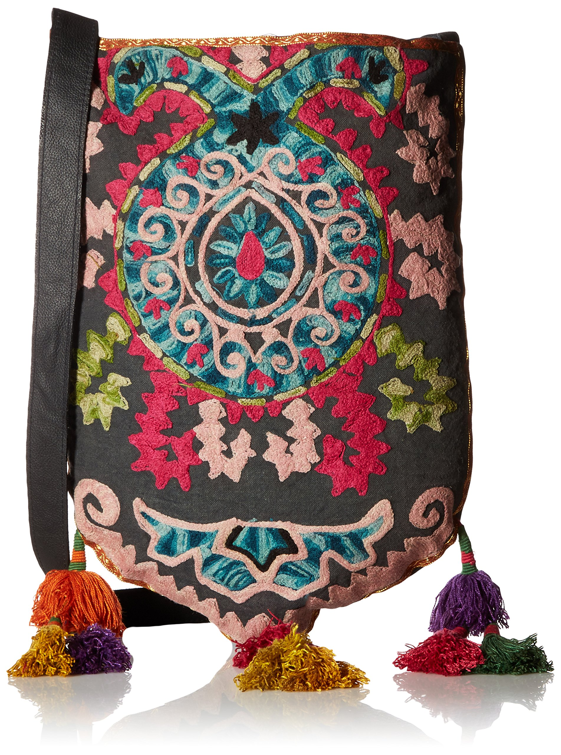 'ale by alessandra Women's Suzani Embroidered Tribal Bag With Tassels, Multi, One Size