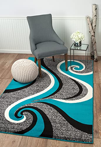 Summit 37 New Grey Torquoise Area Rug Modern Abstract Many Available
