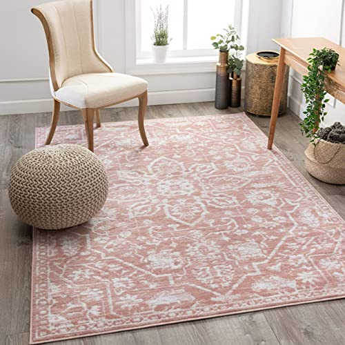 Well Woven Dazzle DISA Blush Vintage Bohemian Oriental Distressed 5'3″ x 7'3″ Area Rug