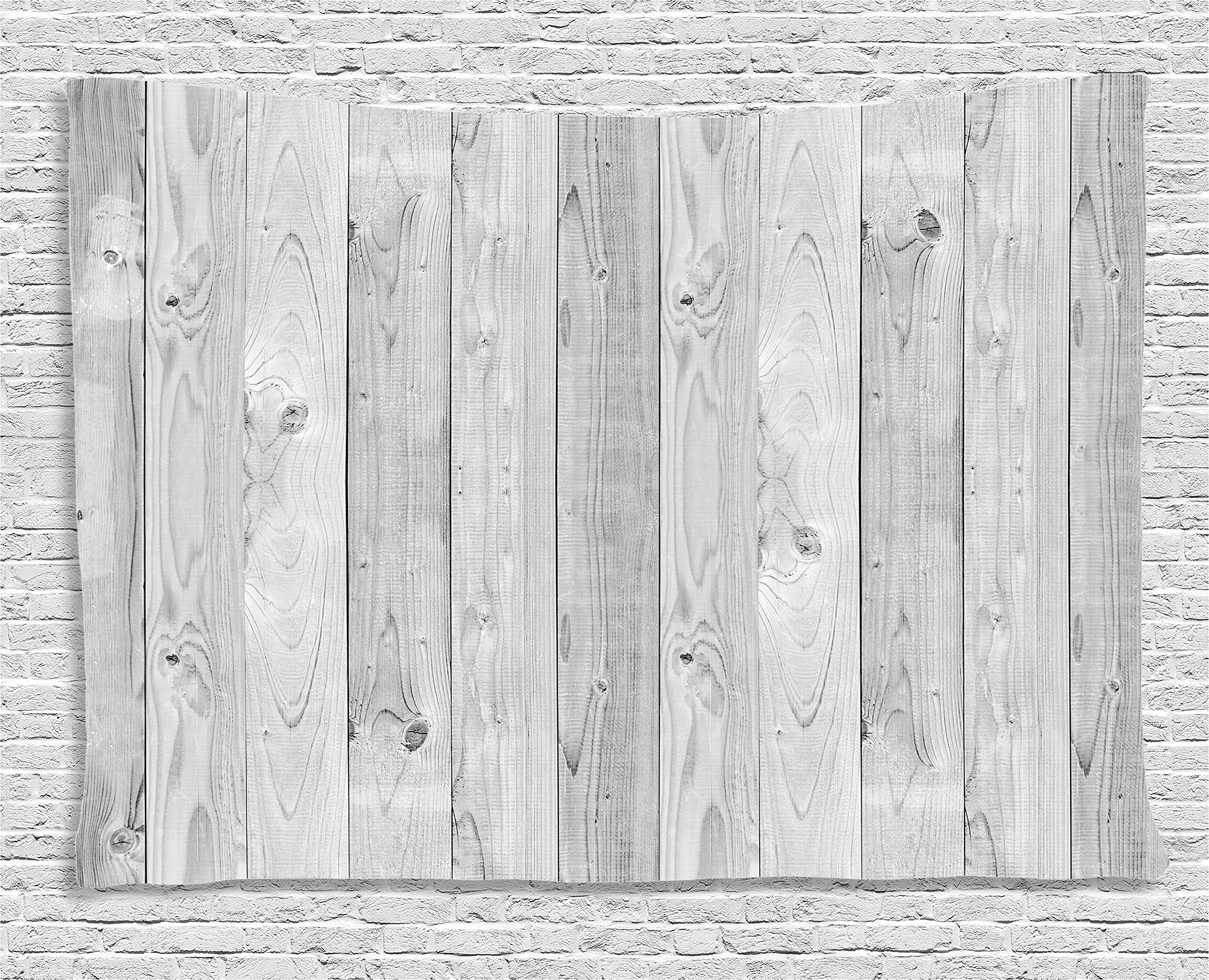 Ambesonne Grey Decor Collection, Picture of Smooth Oak Wood Texture in Old Fashion Retro Style Horizontal Nature Design Home Print, Bedroom Living Room Dorm Wall Hanging Tapestry, 80W X 60L Inch, Gray
