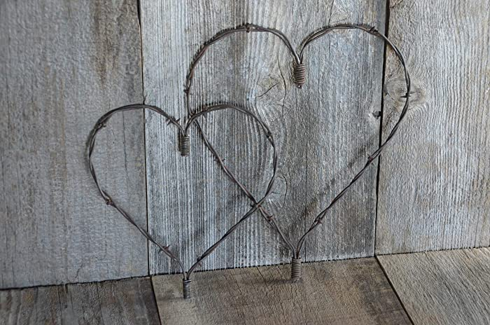 Set Of Two Large And Medium Rustic Heart Barbed Wire Barb
