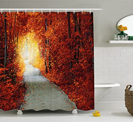 Bon Ambesonne Autumn Shower Curtain, Fall Rainy Season Forest Wild Road  Isolated With Trees Forest On